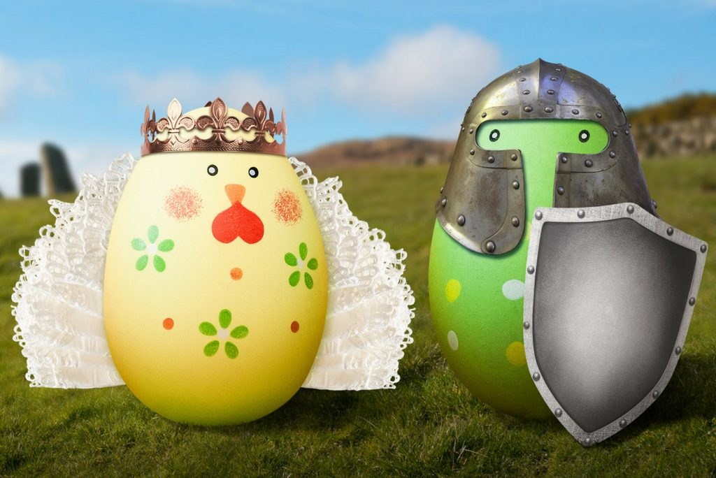 Illustration of Easter eggs dressed up in historical dress