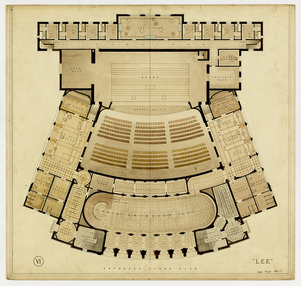 architectural drawing of theatre floor plan