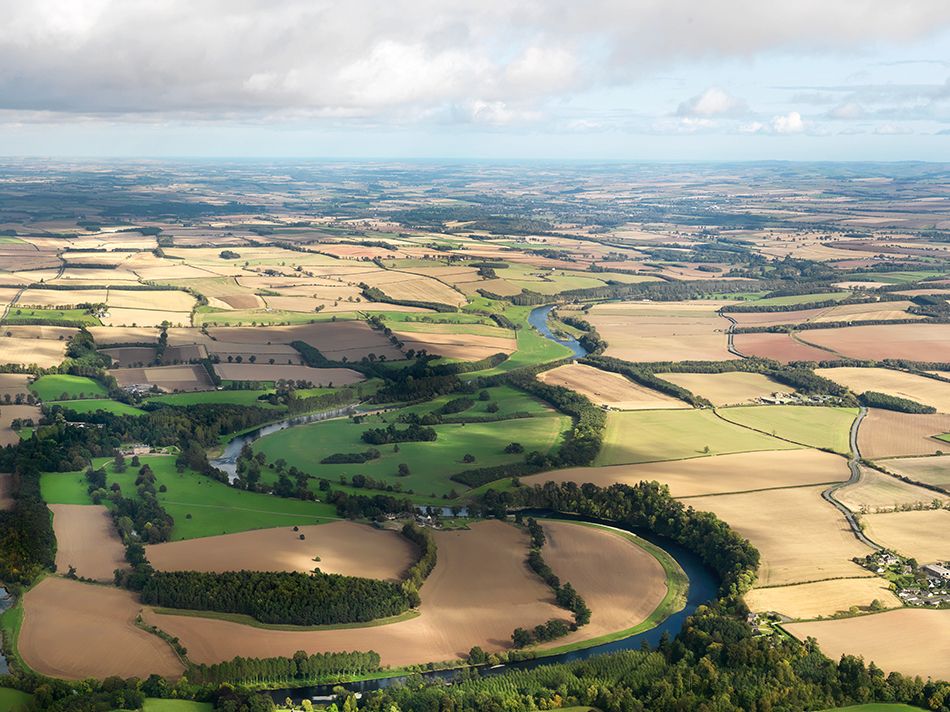 aerial view showing fields and hedges