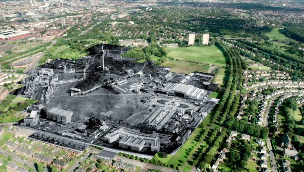 Photo of Bellahouston Park in 1938 mapped onto a modern view from the helicopter