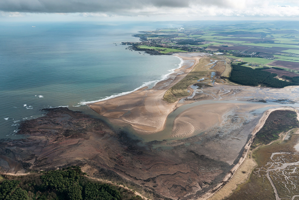 Aerial view of Belhaven Bay where WWI trenches can be seen from above