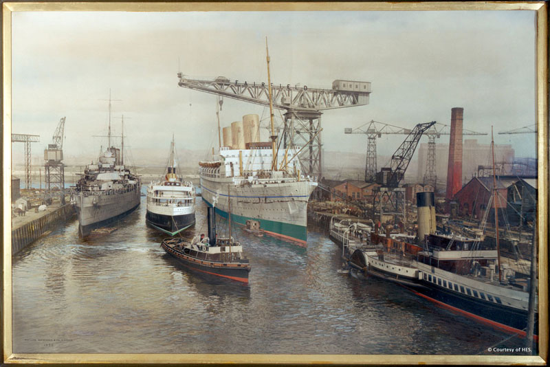 Image of a painting of the Clyde dockyard