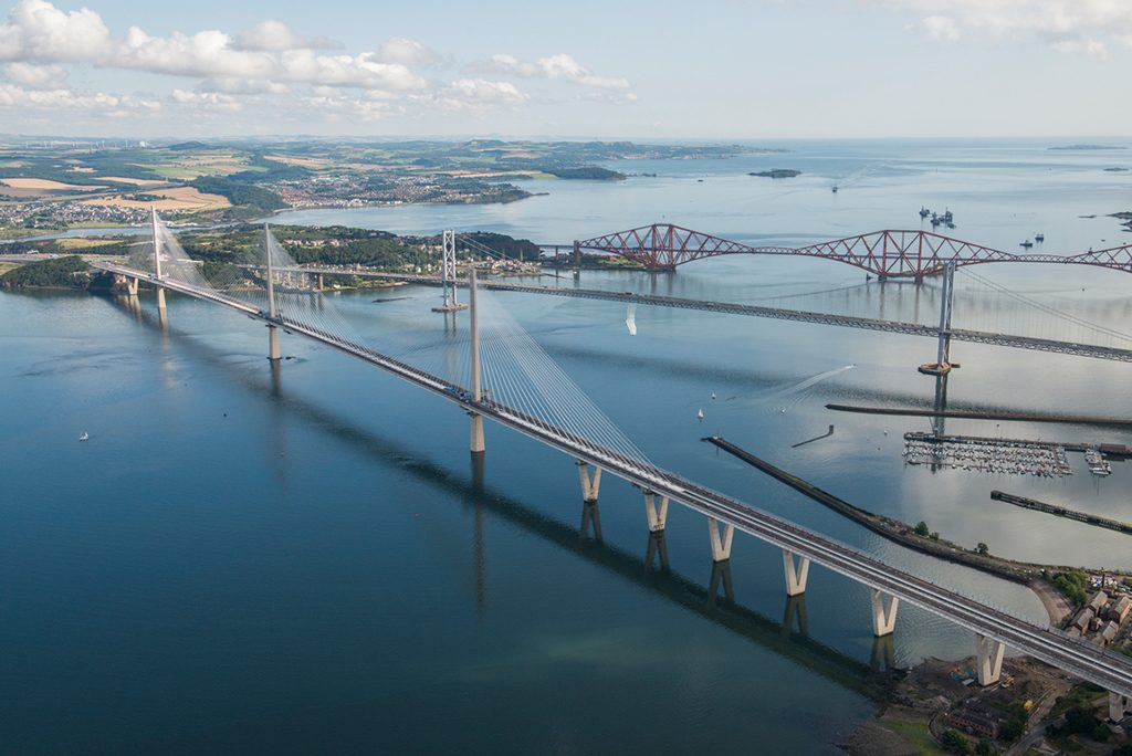 view from above of three bridges in a row over a body of water