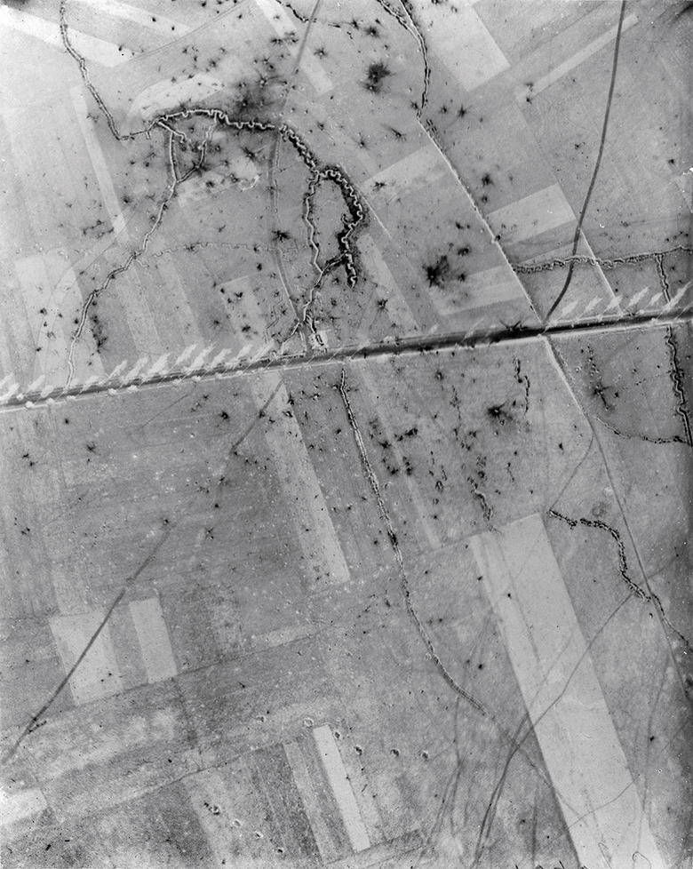 Aerial photograph showing the trenches on the western front