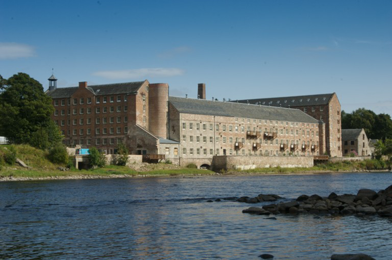 General view of Stanley Mills from the River Tay.