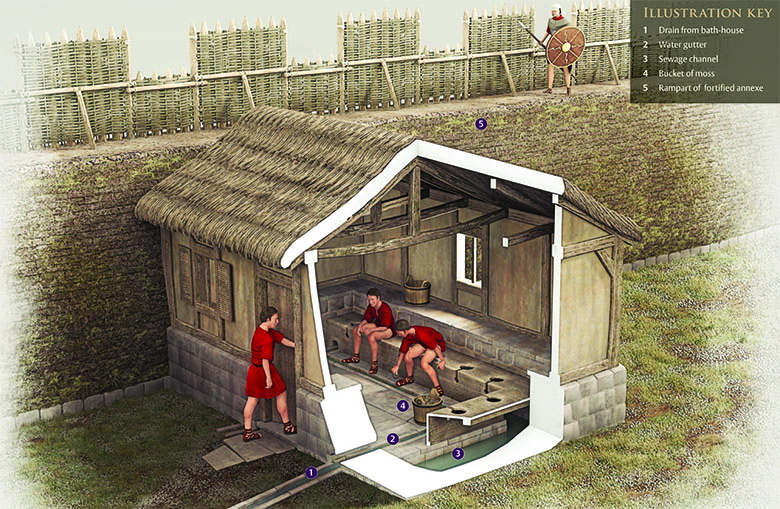 Reconstruction drawing of the latrines in Bearsden