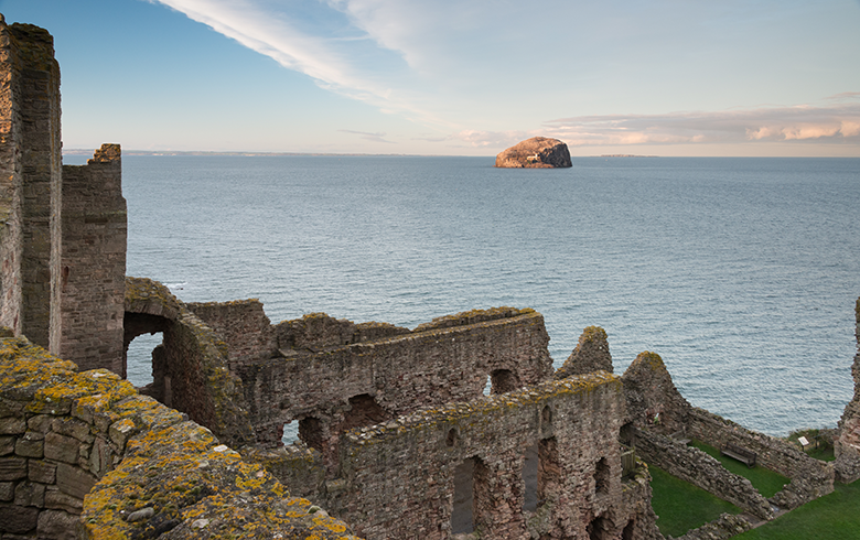 View from Tantallon Castle out to the Bass Rock
