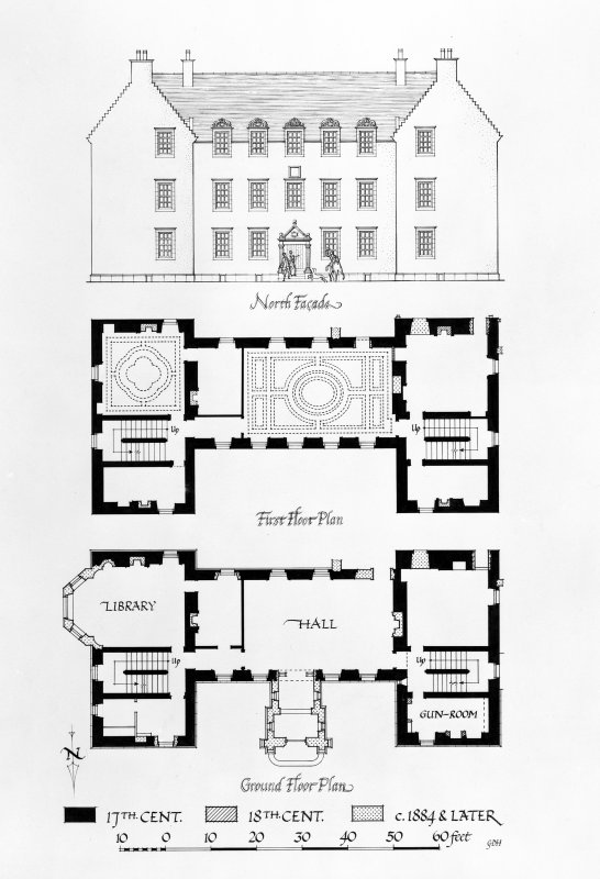 back and white drawing showing house and floor plan