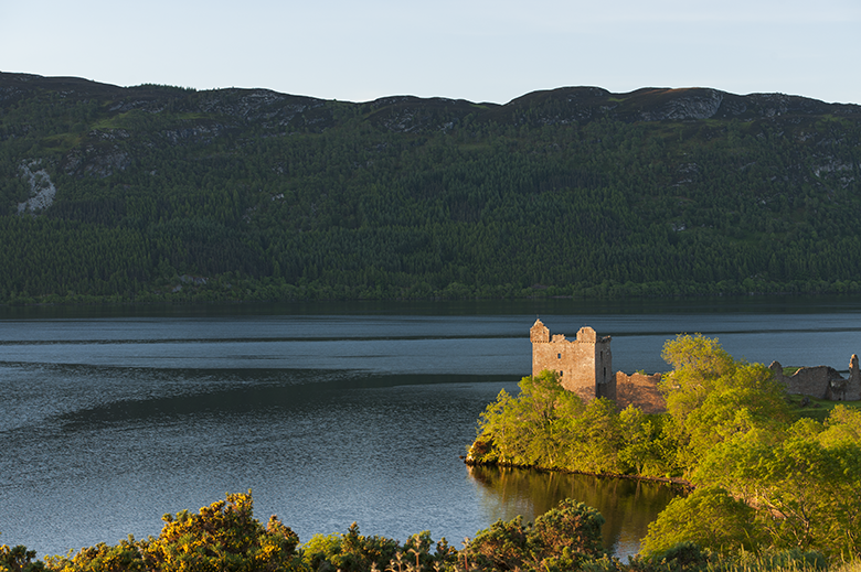 Tranquil view of Urquhart Castle on the banks of Loch Ness