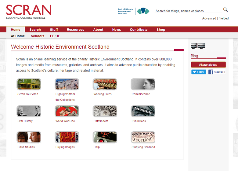 Screenshot of the Scran website homepage