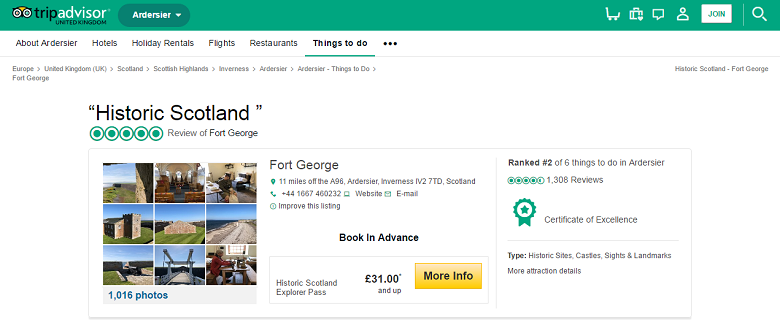Screengrab of the Fort George reviews on Tripadvisor website