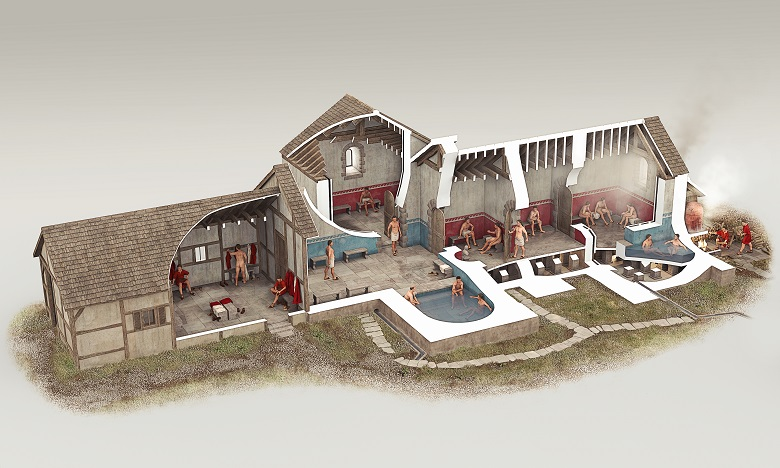 Reconstruction drawing of Beasrsden Bath-House by Bob Marshall