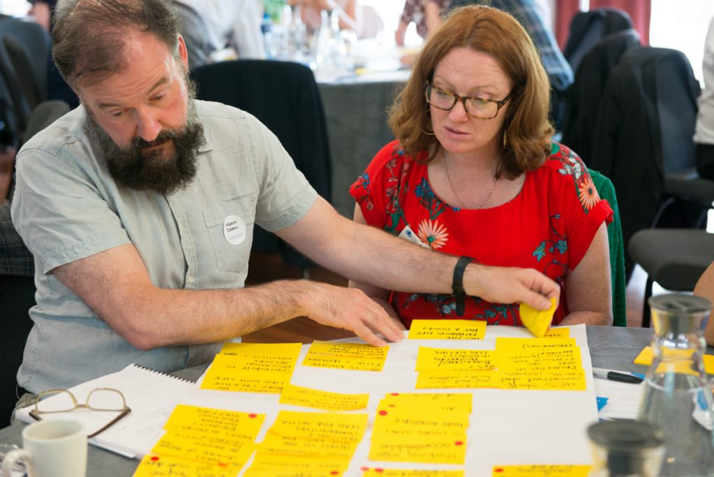 A photograph of a man with a beard and a woman wearing glasses and a red top looking at yellow post-it notes