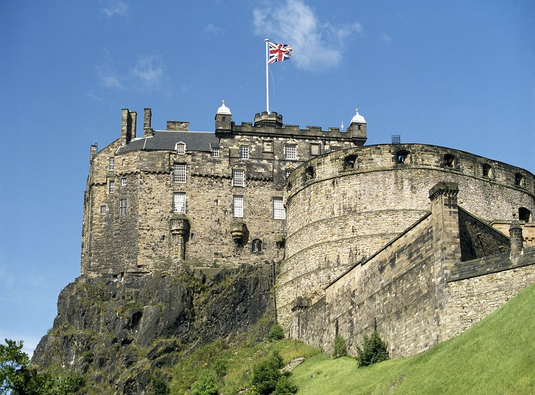 View of Edinburgh Castle from Grassmarket area
