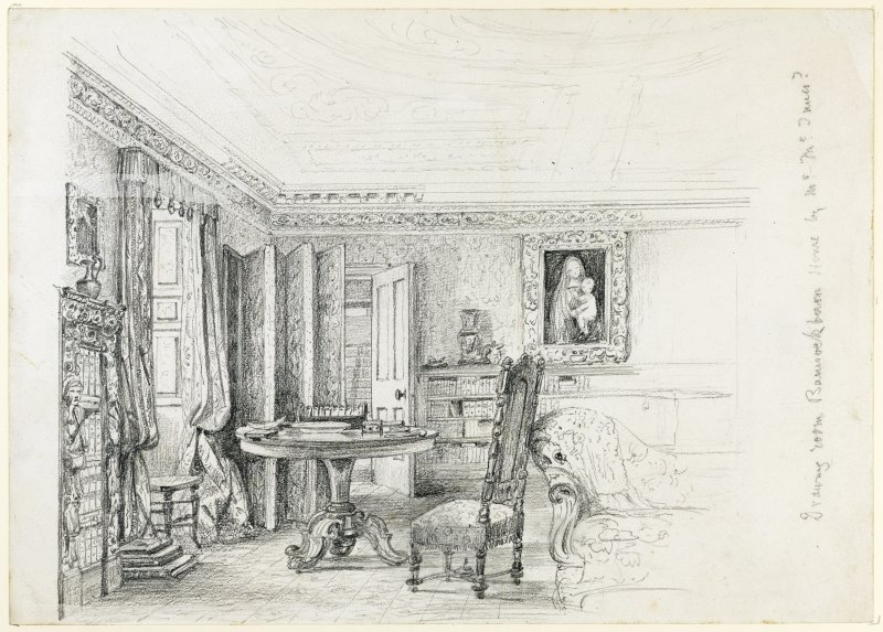 sketch showing a corner of a room with table and chair