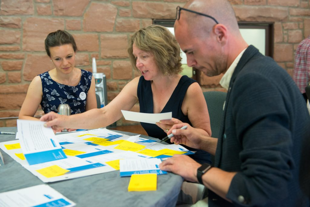 A photograph of three two women and a man reorganising post-it notes together.