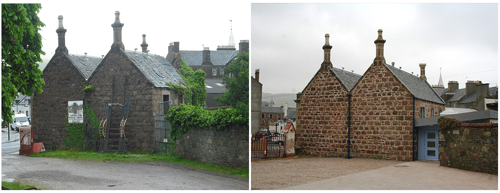 before and after images of a building after conservation work