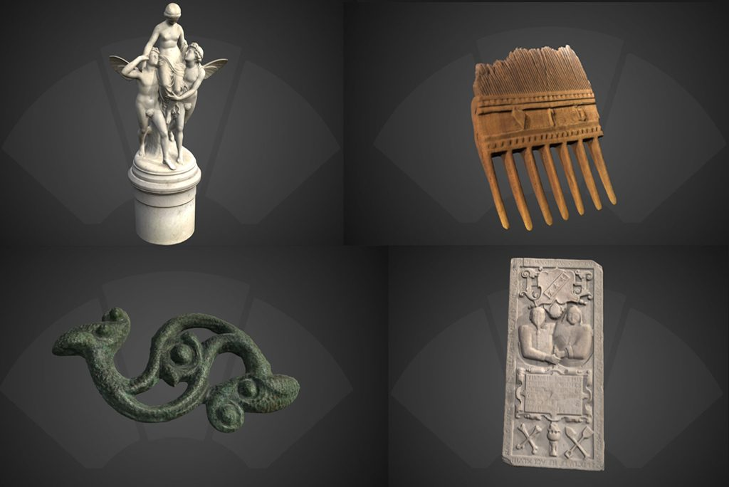 four historic objects - top left statue, top right comb, bottom left brooch, bottom right gravestone