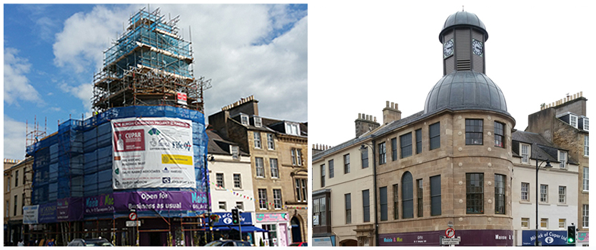 images side by side show a building covered in scaffold and when the scaffold is removed