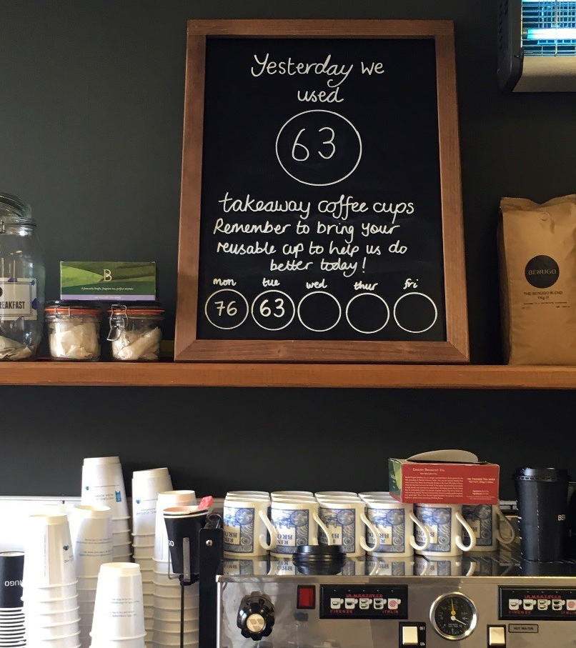 blackboard on shelf with writing about coffee cups