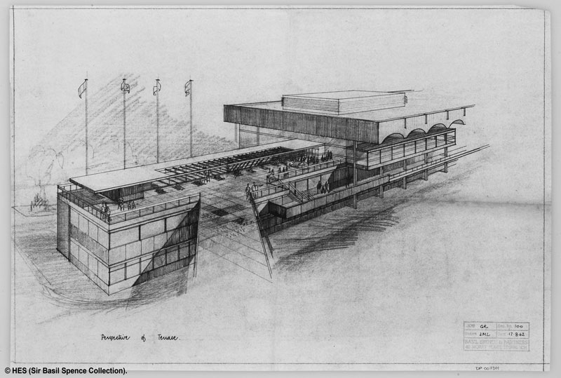 Original design sketch showing perspective of Glasgow Airport's viewing terrace