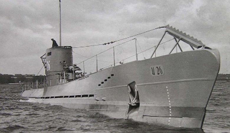 black and white image of a wartime submarine