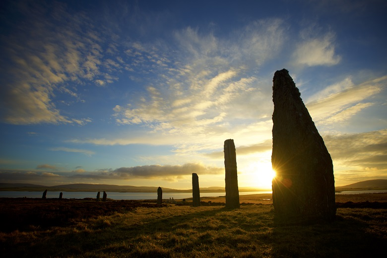 View of a sunset at the Ring of Brodgar standing stone circle