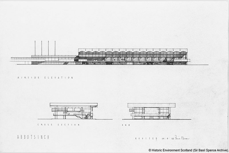 Elevations and sections drawing of Glasgow airport by Spence Glover and Ferguson
