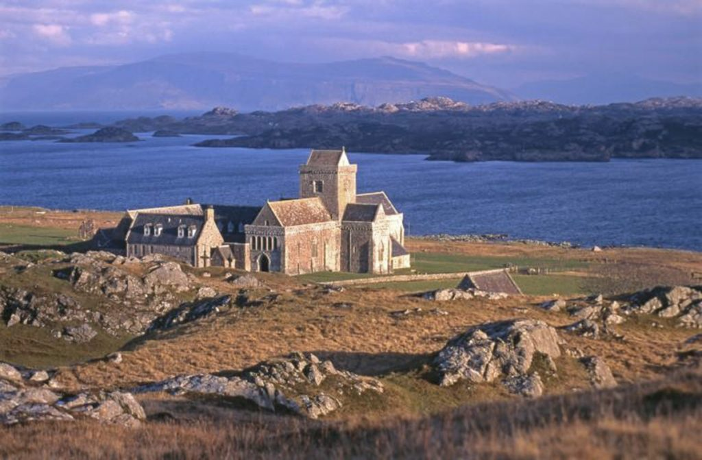 The sea and the Isle of Mull behind Iona Abbey