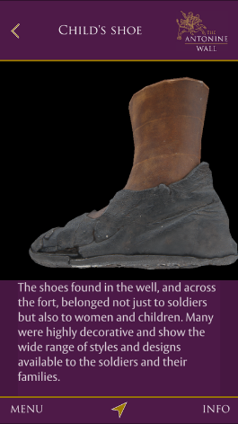 A screenshot from the Antonine Wall mobile app showing a digital reconstruction of a grey leather Roman shoe.