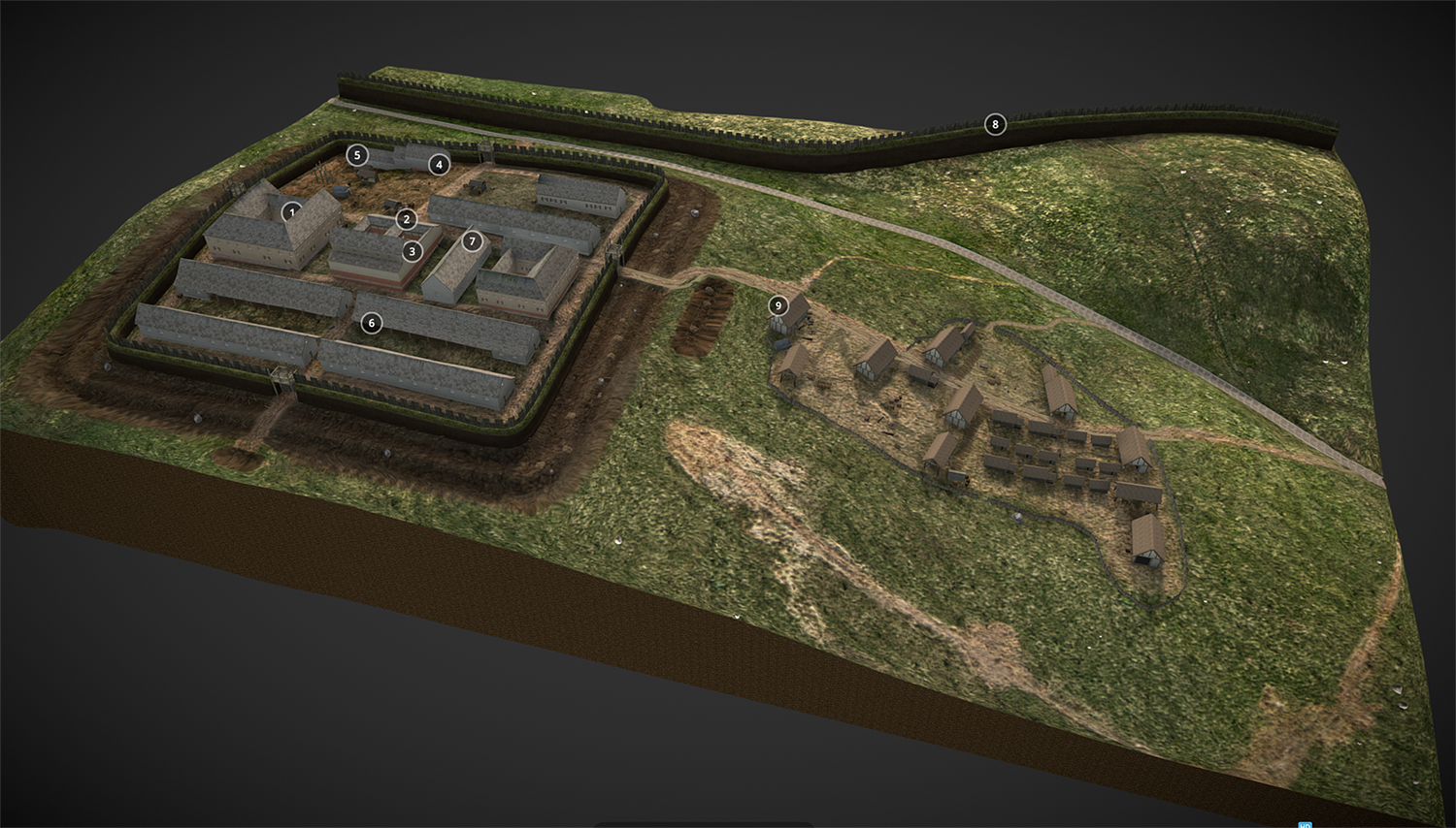 A digital reconstruction of a Roman fort. The fort is located on a hillside beside a large defensive wall. There is a walled section containing orderly military buildings and a village-like collection of buildings outside the walls.