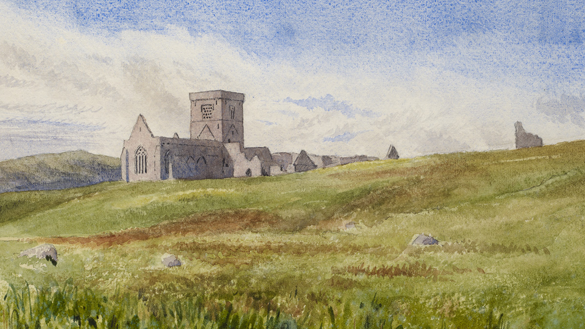 An artist's impression of Iona Abbey. A painting shows an abbey sitting in front of a distant hill. In the foreground there is brown heather and four rocks.