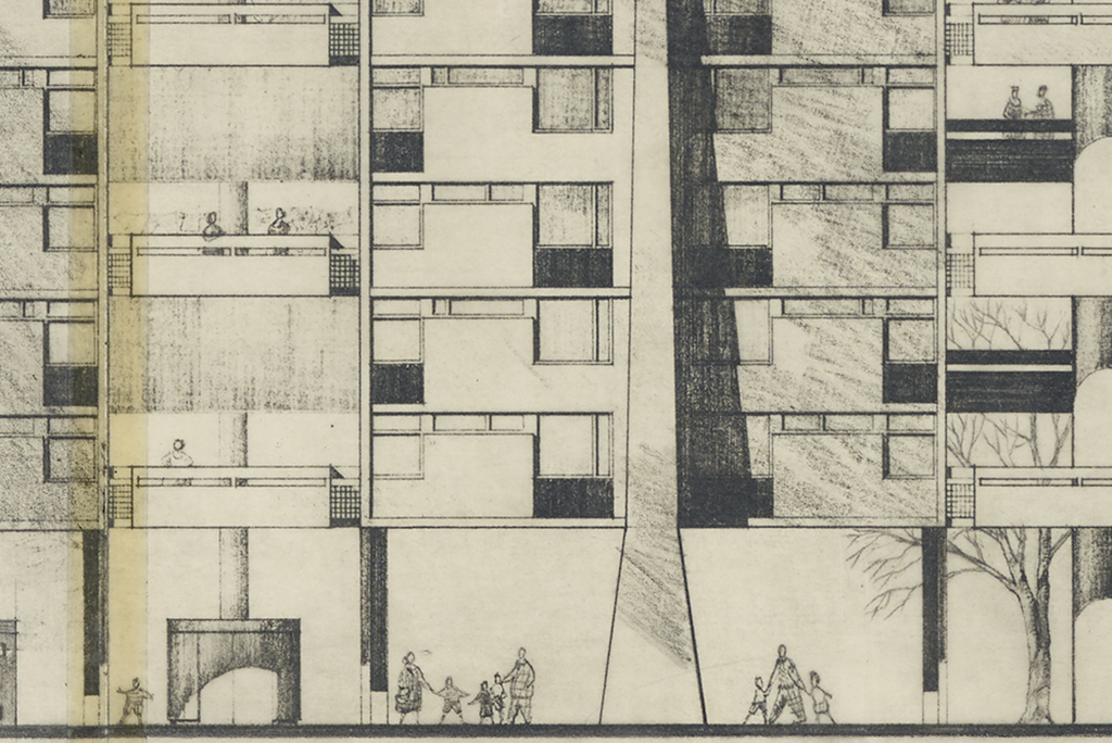 Detail from an architect's plan of high-rise flats. At ground level parents and children are heading out for the day. On the balconies above some neighbours are chatting .