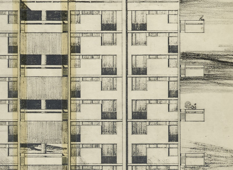Detail from an architect's plan for high rise flats. A man is tending to his plants on one of the balconies.