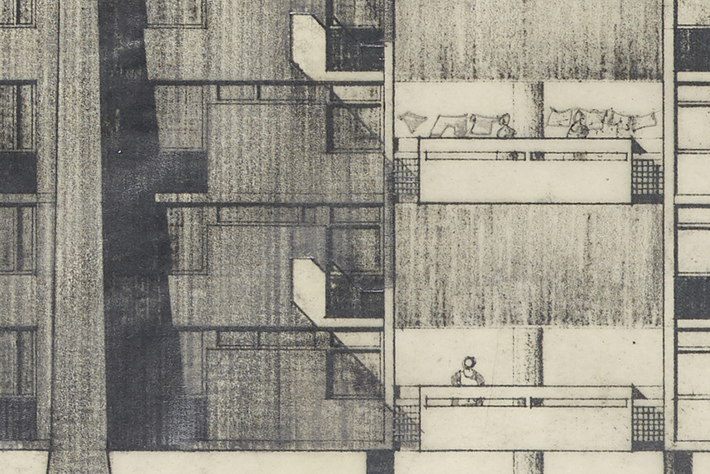 Detail from an architect's plan showing a lady hanging out laundry on her balcony. A second lady is having a conversation with her from the balcony below.