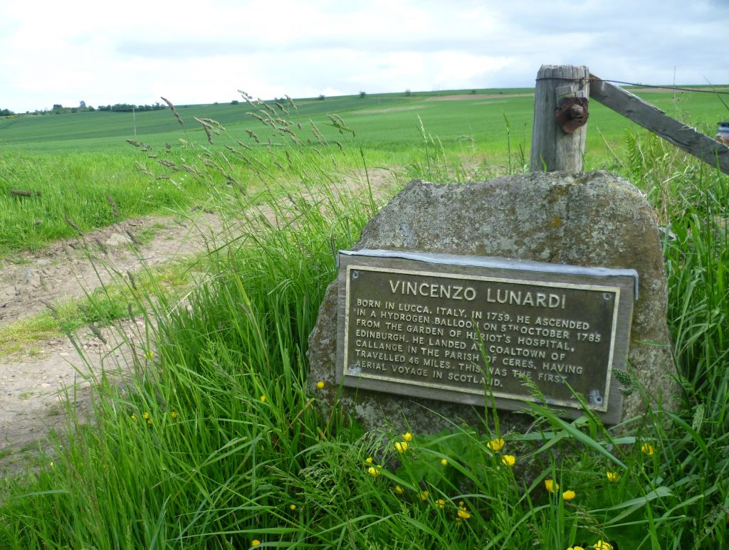 A plaque near Pitscottie, Fife , marking where Lunardi made one of this landings
