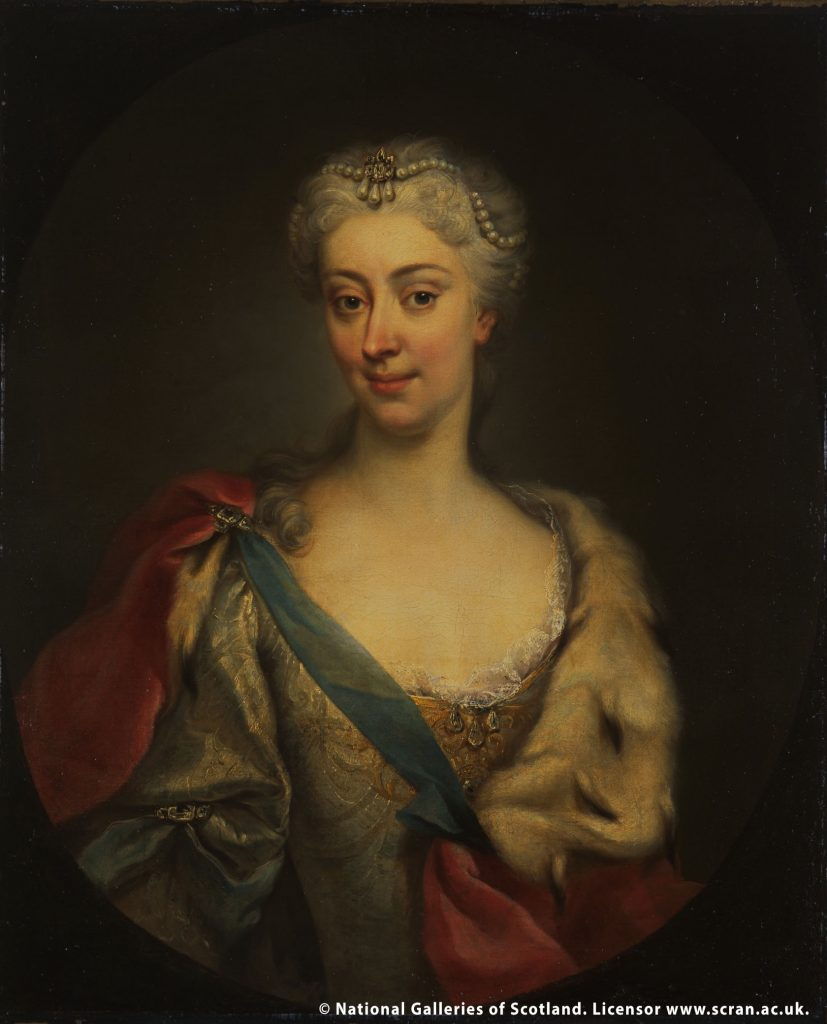 A portrait of Princess Clementina. She is wearing a pearl headdress and a dress accompanied by a red and blue shawl.