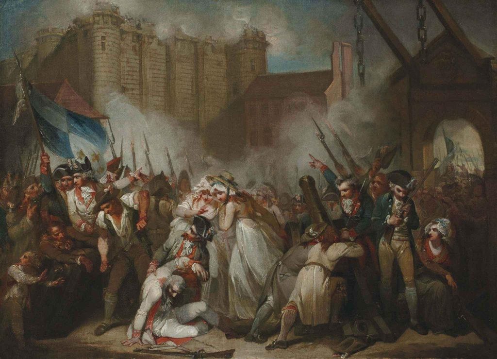 An artist's impression of the Storming of the Bastille. Two women are in the centre of the picture surrounded by soldiers and a mob. Smoke rises in the background.
