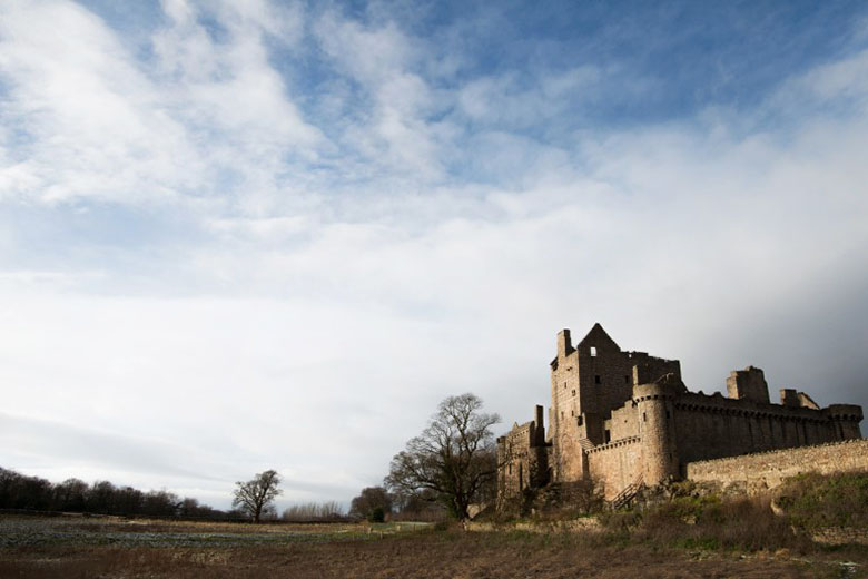 A view of Craigmillar Castle, venue for Spotlight on Mary. The photo is taken from a field outside the castle.