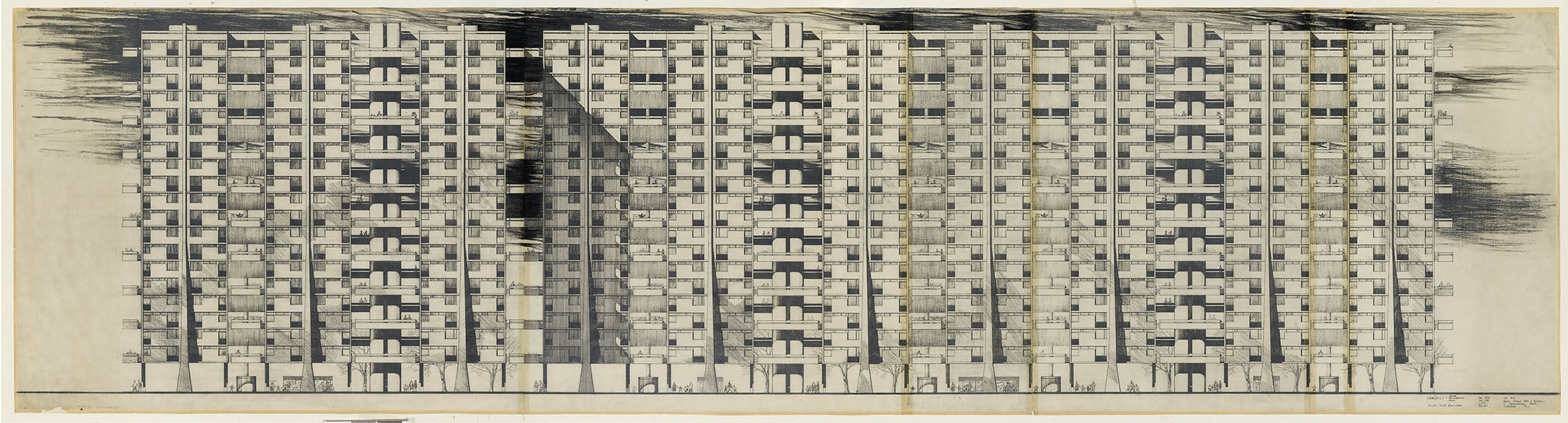 Plans for housing in 1960s Glasgow. The plans show 4 interconnected 10-storey tower blocks. There are many intricate details including would-be occupants of the flats shopping, gardening and hanging out laundry.
