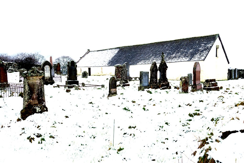 View of snowy grave yard at St.Mary's Church, Grandtully.
