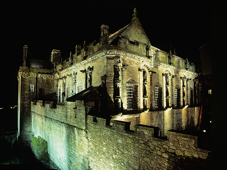 Stirling Castle by night, illuminated in a ghostly green