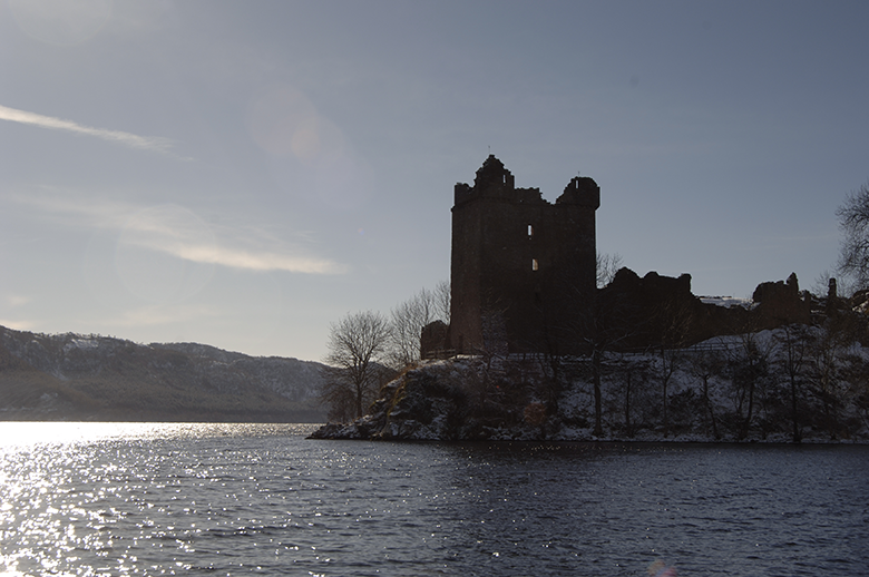 Urquhart Castle on the banks of Loch Ness at twilight