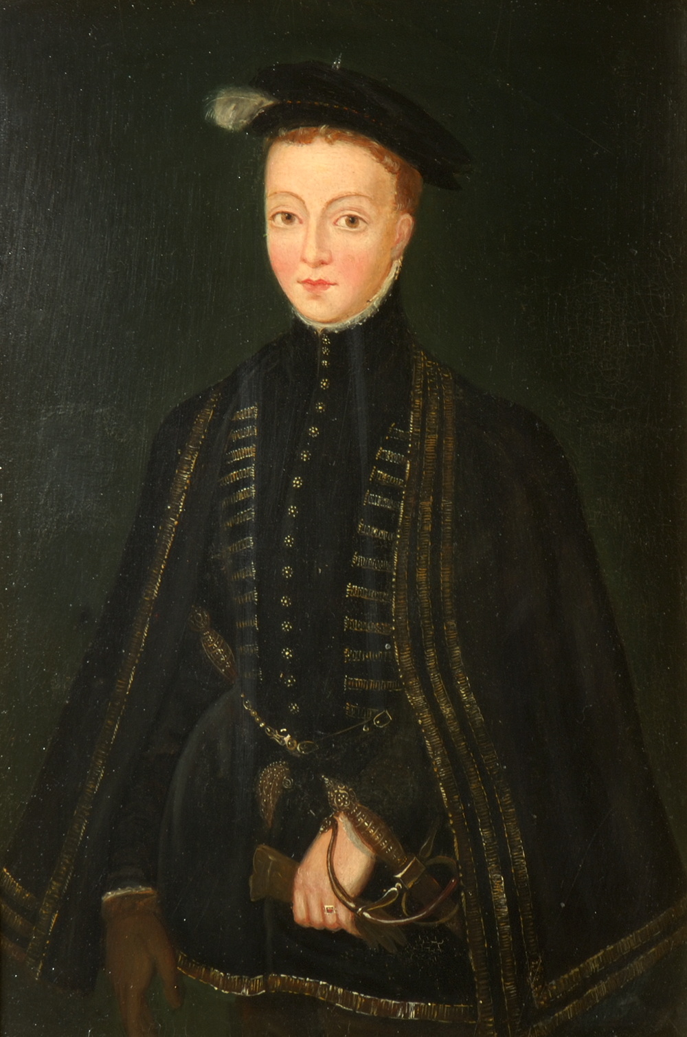 A portrait of a young Lord Darnley. He is dressed in a black and gold outfit with a black hat. he has short red hair and is wearing a sword at his waist.