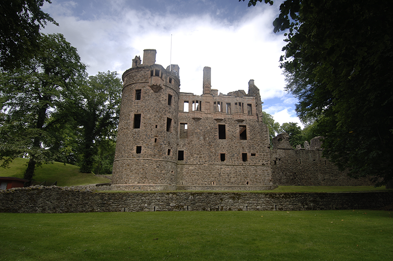 Huntly Castle looking spooky with dark windows