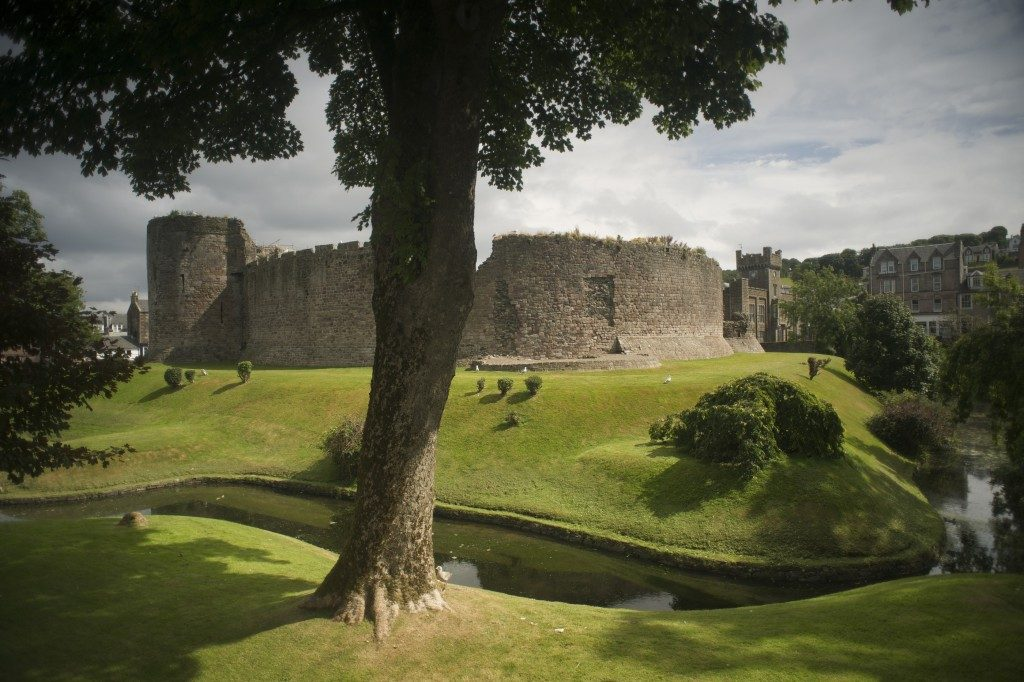 rothesay castle surrounded by a moat. Tree in foreground