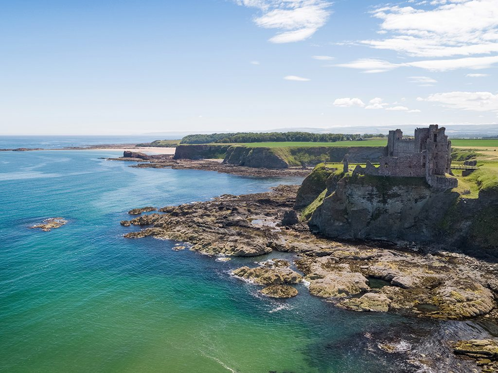 An aerial photo of Tantallon Castle