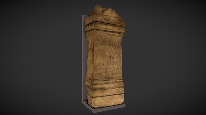 A digital 3D model of a Roman altar. The stone is ornately carved and inscribed with text.
