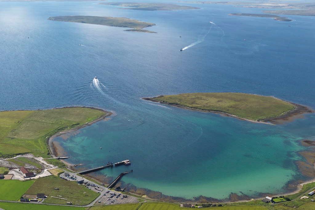 An aerial view of Scapa Flow
