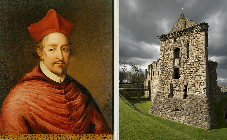 A portrait of Cardinal Beaton in his robes beside a photo of St Andrews Castle